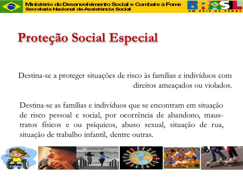 Proteção Social Especial Destina-se a proteger situações de risco às famílias e indivíduos com direitos ameaçados ou violados. Destina-se as famílias