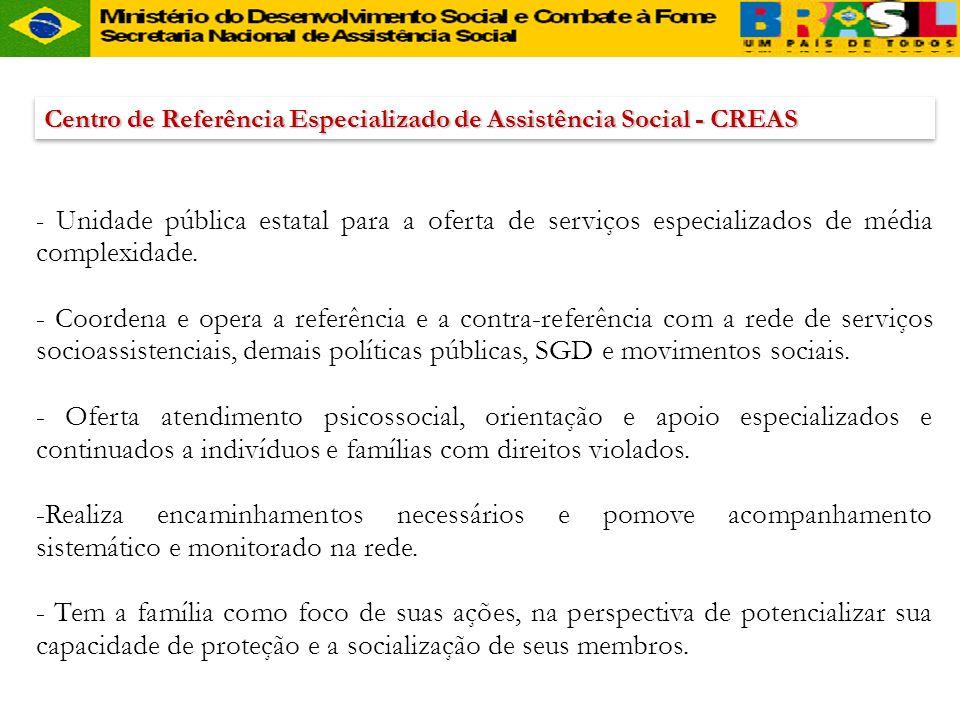 Centro de Referência Especializado de Assistência Social - CREAS - Unidade pública estatal para a oferta de serviços especializados de média complexid