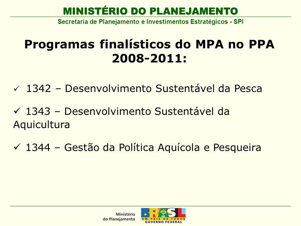 MINISTÉRIO DO PLANEJAMENTO Secretaria de Planejamento e Investimentos Estratégicos - SPI Programas finalísticos do MPA no PPA 2008-2011: 1342 – Desenv