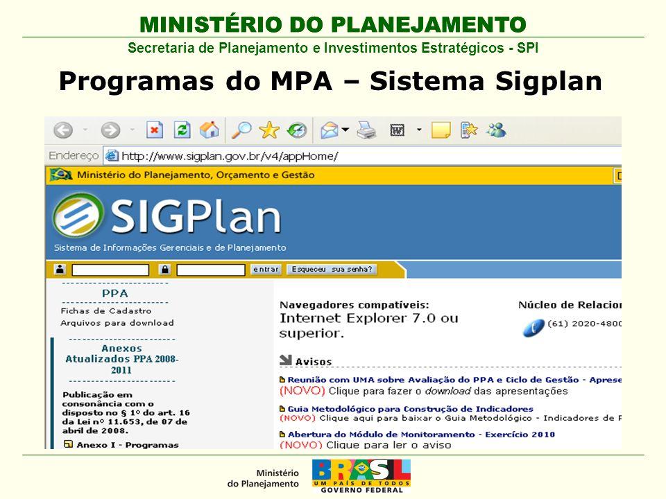 MINISTÉRIO DO PLANEJAMENTO Secretaria de Planejamento e Investimentos Estratégicos - SPI Programas do MPA – Sistema Sigplan