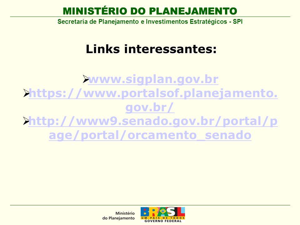 MINISTÉRIO DO PLANEJAMENTO Secretaria de Planejamento e Investimentos Estratégicos - SPI Links interessantes: www.sigplan.gov.br www.sigplan.gov.br ww