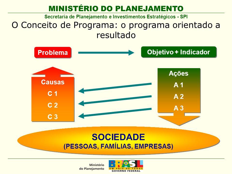 MINISTÉRIO DO PLANEJAMENTO Problema Objetivo + Indicador Causas C 1 C 2 C 3 Causas C 1 C 2 C 3 SOCIEDADE (PESSOAS, FAMÍLIAS, EMPRESAS) SOCIEDADE (PESS