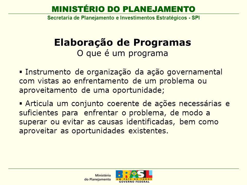 MINISTÉRIO DO PLANEJAMENTO Secretaria de Planejamento e Investimentos Estratégicos - SPI Instrumento de organização da ação governamental com vistas a