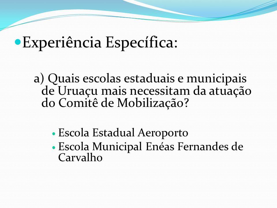 Experiência Específica: a) Quais escolas estaduais e municipais de Uruaçu mais necessitam da atuação do Comitê de Mobilização? Escola Estadual Aeropor