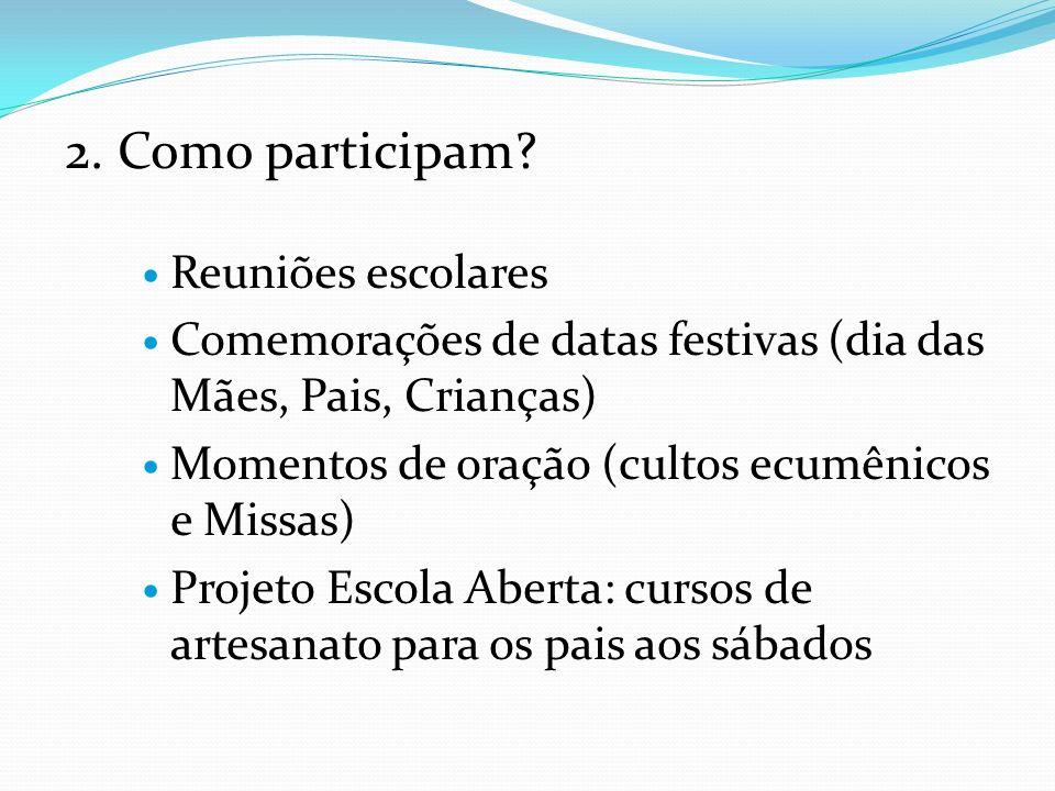 2. Como participam? Reuniões escolares Comemorações de datas festivas (dia das Mães, Pais, Crianças) Momentos de oração (cultos ecumênicos e Missas) P