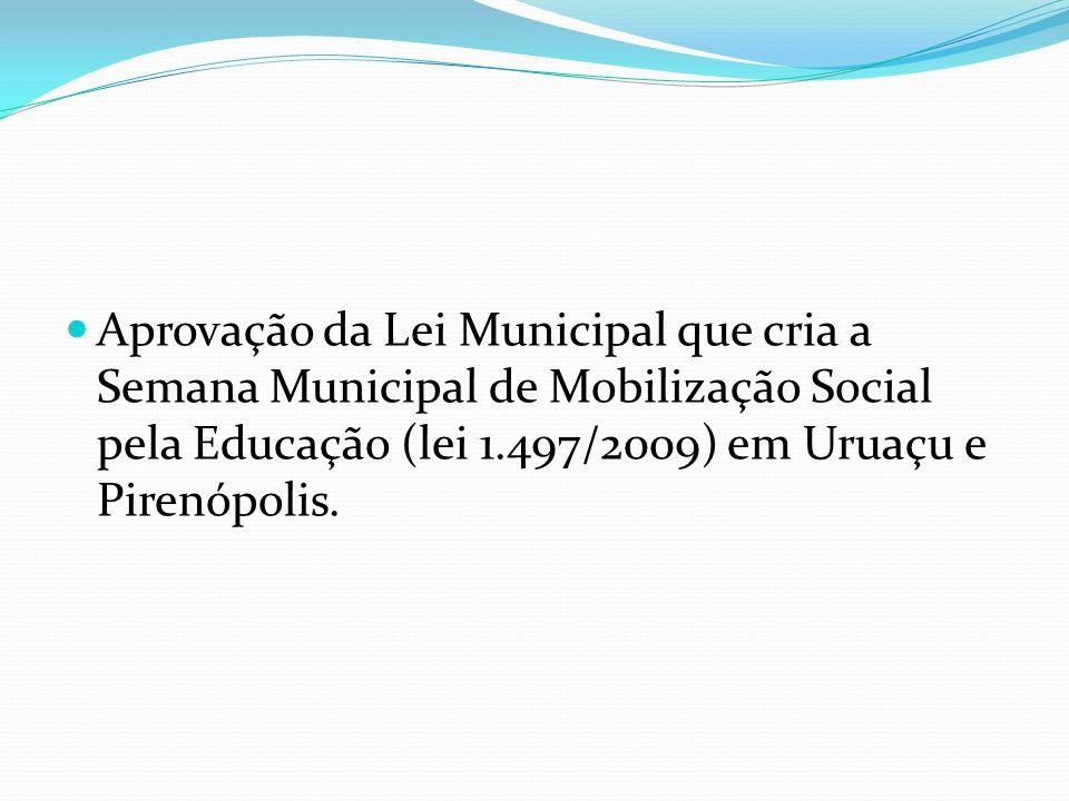 Aprovação da Lei Municipal que cria a Semana Municipal de Mobilização Social pela Educação (lei 1.497/2009) em Uruaçu e Pirenópolis.