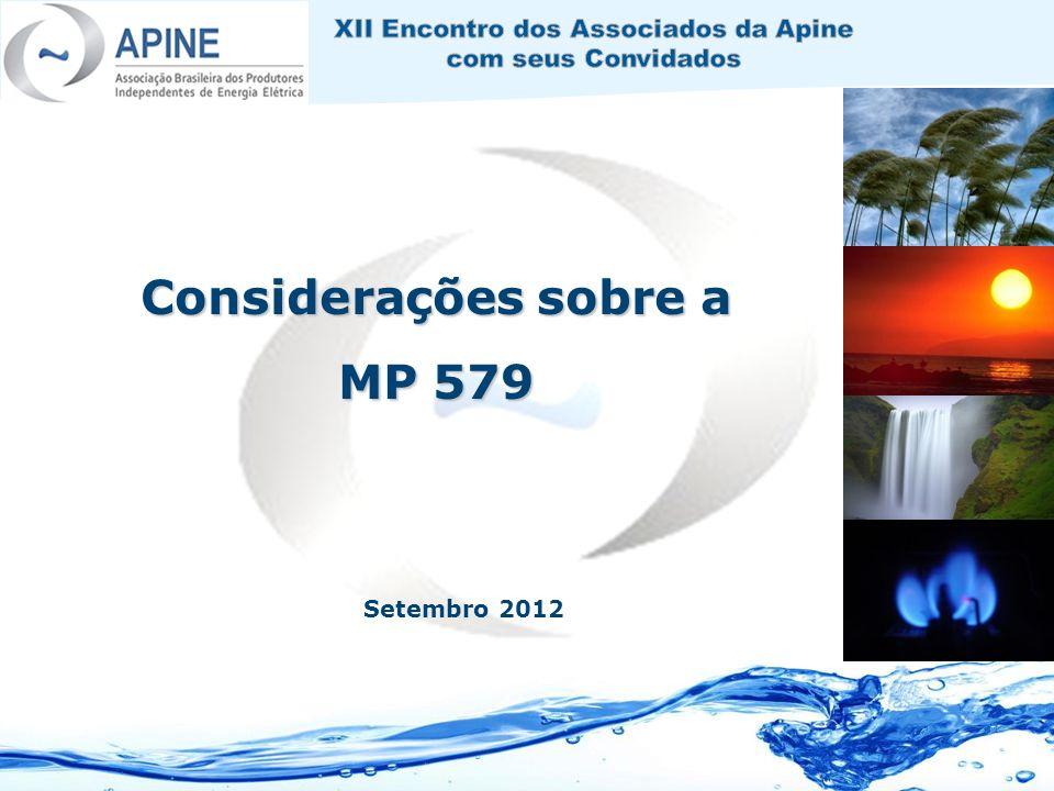 Considerações sobre a MP 579 Setembro 2012