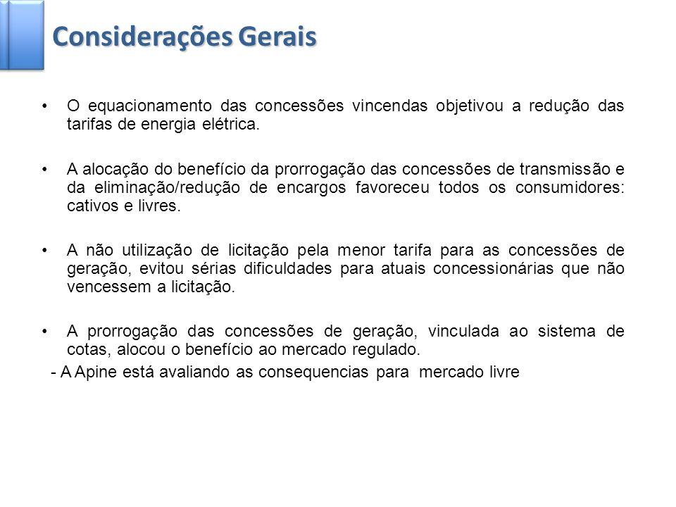 2 Considerações Gerais O equacionamento das concessões vincendas objetivou a redução das tarifas de energia elétrica. A alocação do benefício da prorr