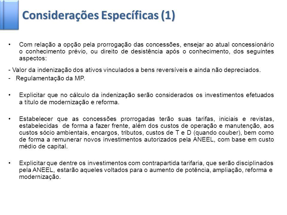 4 Explicitar que a concessionária não assumirá riscos não contemplados na tarifa de energia da usina (como é o caso já estabelecido do risco hidrológico).