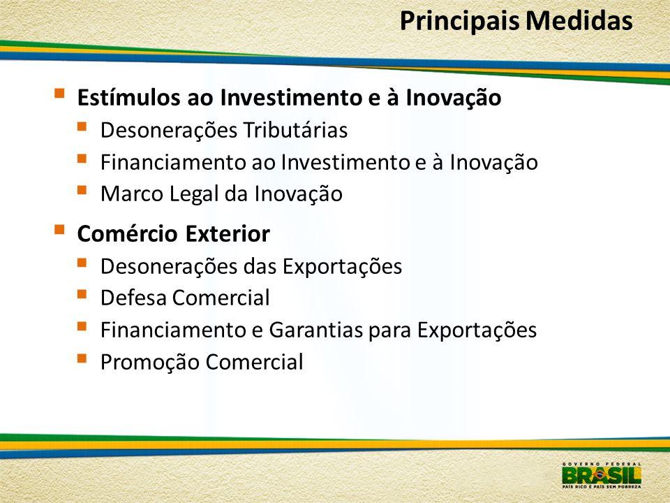 Principais Medidas Estímulos ao Investimento e à Inovação Desonerações Tributárias Financiamento ao Investimento e à Inovação Marco Legal da Inovação