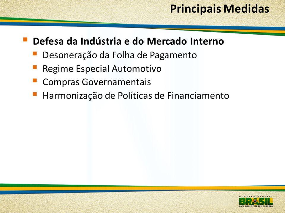Principais Medidas Defesa da Indústria e do Mercado Interno Desoneração da Folha de Pagamento Regime Especial Automotivo Compras Governamentais Harmon