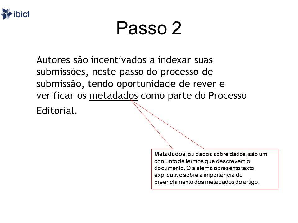 Passo 2 Autores são incentivados a indexar suas submissões, neste passo do processo de submissão, tendo oportunidade de rever e verificar os metadados