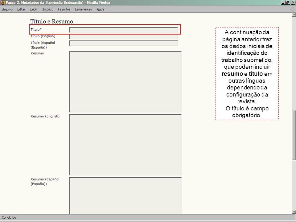 A continuação da página anterior traz os dados iniciais de identificação do trabalho submetido, que podem incluir resumo e título em outras línguas de