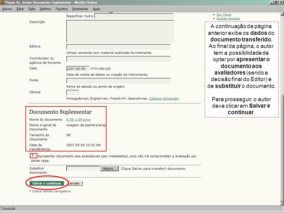 A continuação da página anterior exibe os dados do documento transferido. Ao final da página, o autor tem a possibilidade de optar por apresentar o do