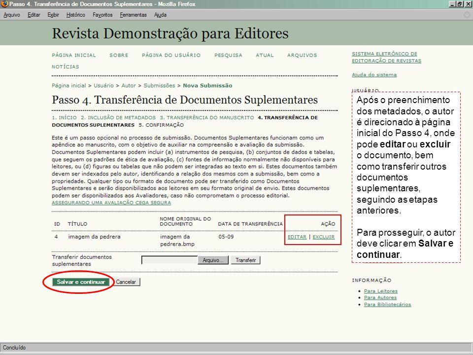 Após o preenchimento dos metadados, o autor é direcionado à página inicial do Passo 4, onde pode editar ou excluir o documento, bem como transferir ou
