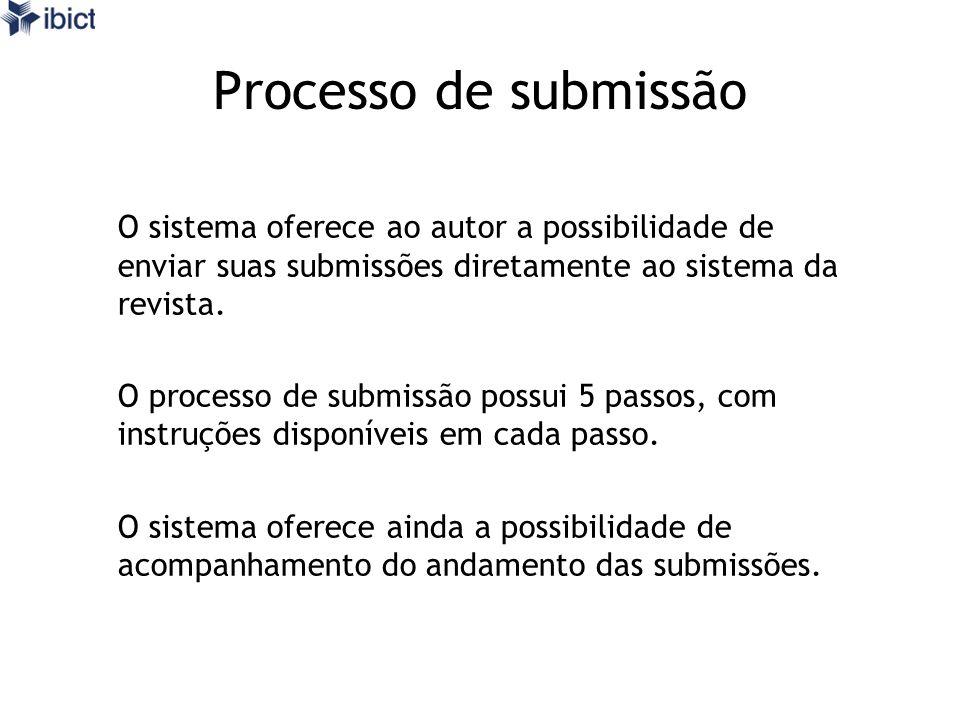 Processo de submissão O sistema oferece ao autor a possibilidade de enviar suas submissões diretamente ao sistema da revista. O processo de submissão