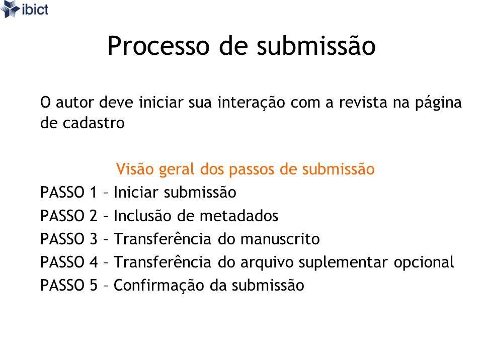 Processo de submissão O autor deve iniciar sua interação com a revista na página de cadastro Visão geral dos passos de submissão PASSO 1 – Iniciar sub