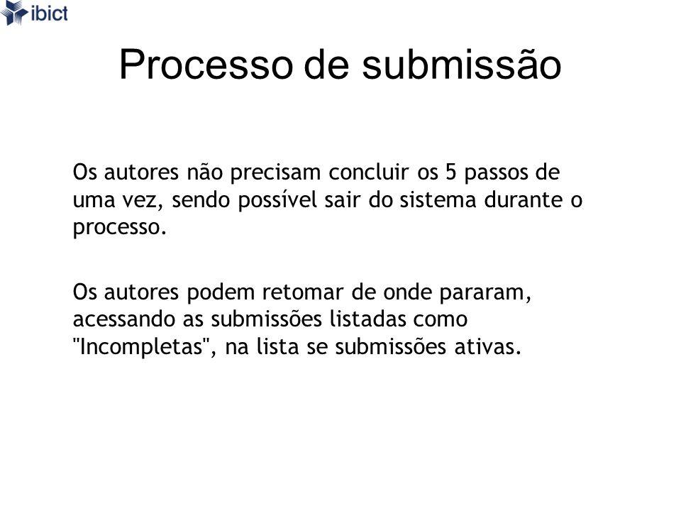 Processo de submissão Os autores não precisam concluir os 5 passos de uma vez, sendo possível sair do sistema durante o processo. Os autores podem ret