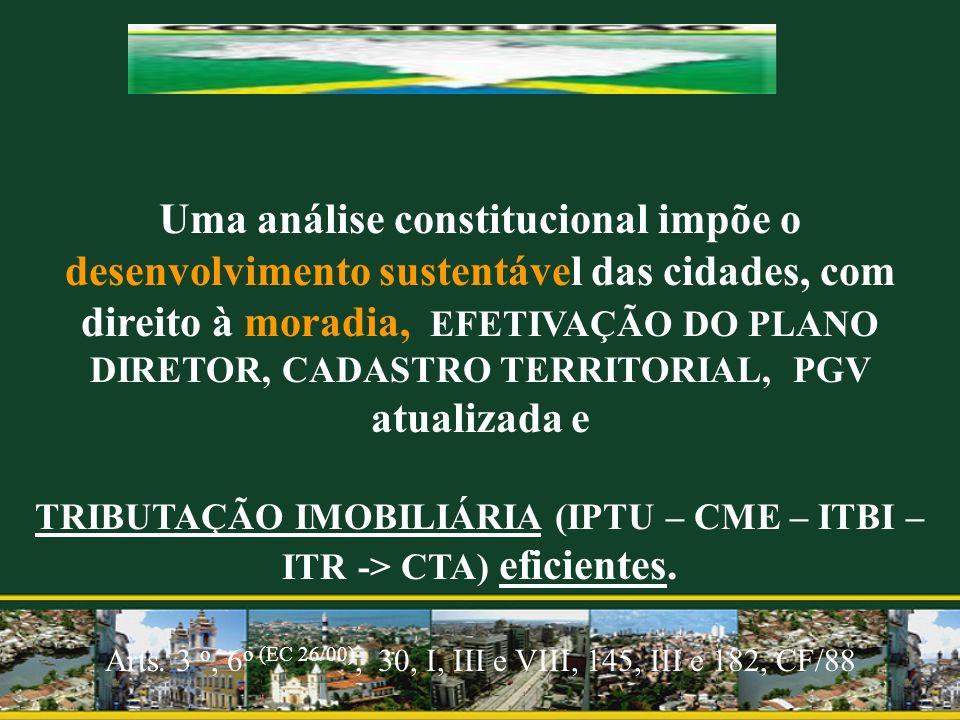 Uma análise constitucional impõe o desenvolvimento sustentável das cidades, com direito à moradia, EFETIVAÇÃO DO PLANO DIRETOR, CADASTRO TERRITORIAL,
