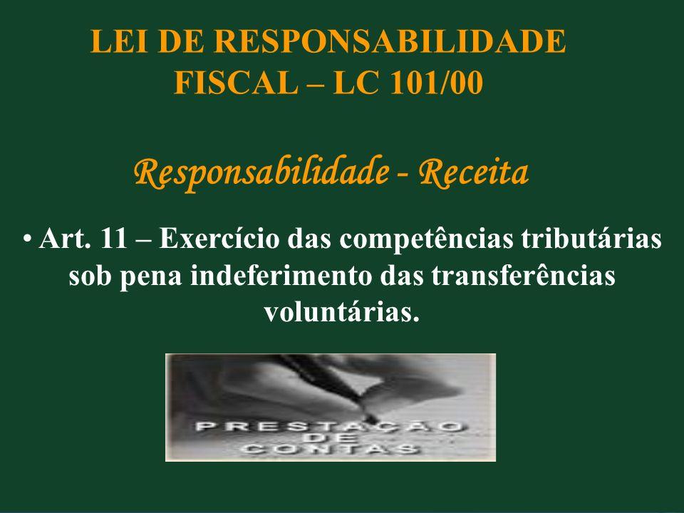 LEI DE RESPONSABILIDADE FISCAL – LC 101/00 Responsabilidade - Receita Art. 11 – Exercício das competências tributárias sob pena indeferimento das tran