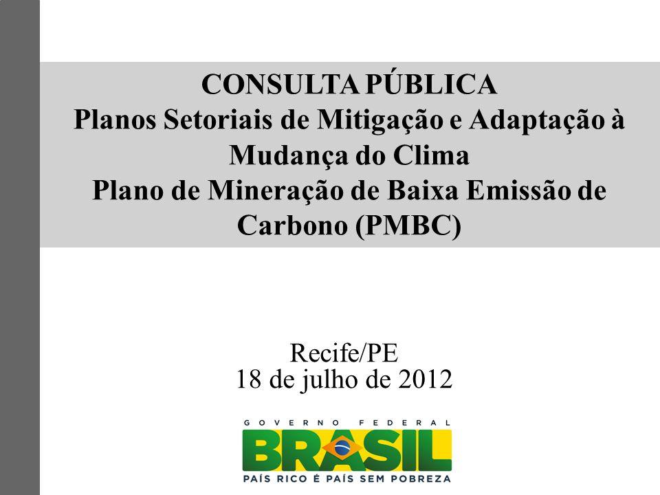CONSULTA PÚBLICA Planos Setoriais de Mitigação e Adaptação à Mudança do Clima Plano de Mineração de Baixa Emissão de Carbono (PMBC) Recife/PE 18 de ju