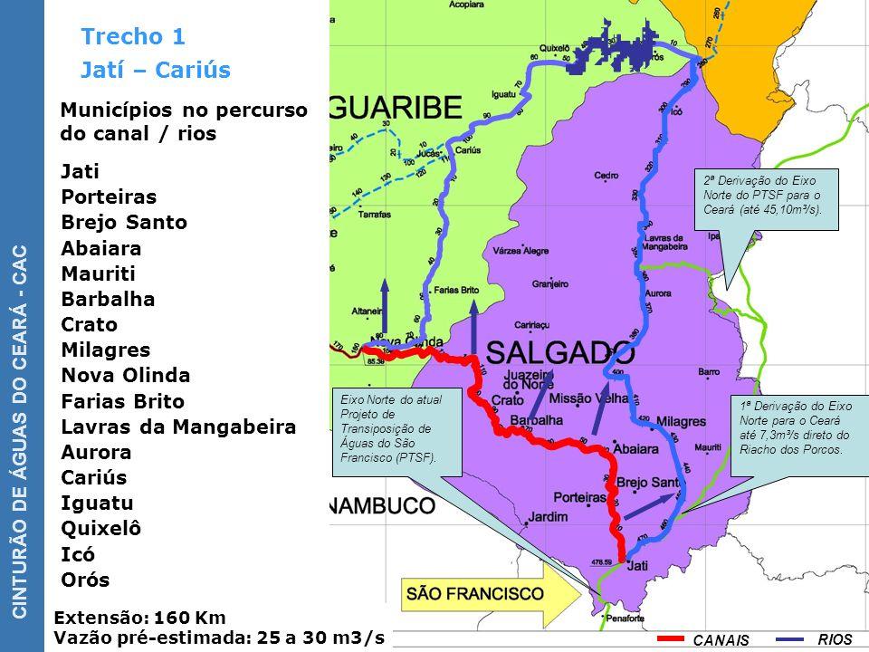 CINTURÃO DE ÁGUAS DO CEARÁ - CAC Trecho 2 Extensão: 380 km Vazão pré-estimada: 30 a 35 m3/s) Cariús – Acaraú Aiuaba Tauá Nova Olinda Antonina do Norte Municípios no percurso do canal / rios 2ª Alternativa, com túnel, para adução para a Bacia Banabuiú.