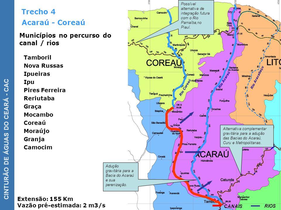 CINTURÃO DE ÁGUAS DO CEARÁ - CAC Trecho 5 Canal Litoral Extensão: 140 Km Vazão pré-estimada: 5 m3/s 1ª.