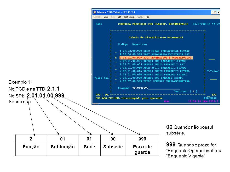 Exemplo 2: No PCD e na TTD : 2.5.2.1 No SPI: 2.05.02.01.10 Sendo que: 205020110 anos FunçãoSubfunçãoSérieSubsériePrazo de guarda