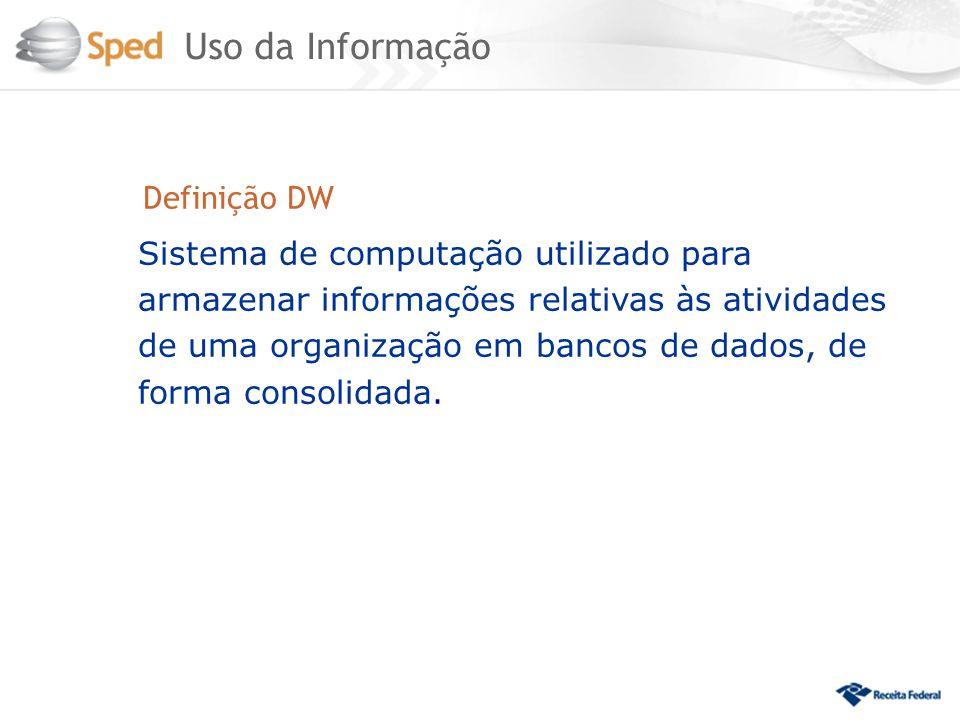 Definição DW Sistema de computação utilizado para armazenar informações relativas às atividades de uma organização em bancos de dados, de forma consol