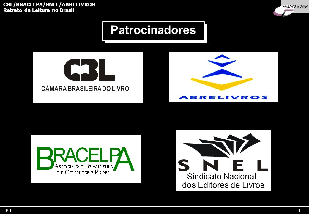 154912 CBL/BRACELPA/SNEL/ABRELIVROS Retrato da Leitura no Brasil INTRODUÇÃO Data das entrevistas 10 de Dezembro a 25 de Janeiro de 2001 10 de Dezembro a 25 de Janeiro de 2001 Realização A.