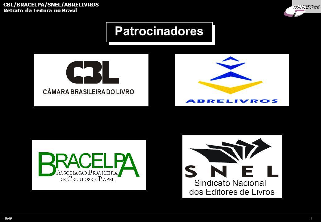 15491 CBL/BRACELPA/SNEL/ABRELIVROS Retrato da Leitura no Brasil CÂMARA BRASILEIRA DO LIVRO Sindicato Nacional dos Editores de Livros Patrocinadores