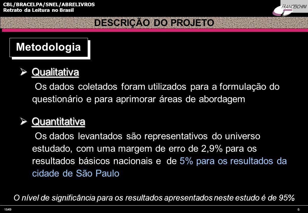 15495 CBL/BRACELPA/SNEL/ABRELIVROS Retrato da Leitura no Brasil DESCRIÇÃO DO PROJETO Metodologia Qualitativa Qualitativa Os dados coletados foram util