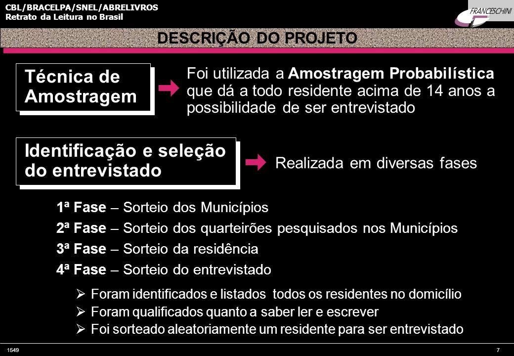 15498 CBL/BRACELPA/SNEL/ABRELIVROS Retrato da Leitura no Brasil Foram realizadas 130 entrevistas por cidade Maior mercado editorial brasileiro INTRODUÇÃO Amostra Exceção: Exceção: São Paulo = 433 entrevistas