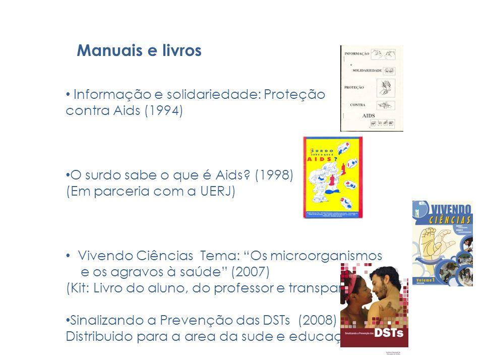 Manuais e livros Informação e solidariedade: Proteção contra Aids (1994) O surdo sabe o que é Aids? (1998) (Em parceria com a UERJ) Vivendo Ciências T