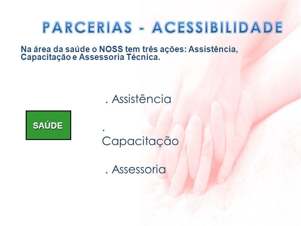 SAÚDE. Assistência. Capacitação. Assessoria Na área da saúde o NOSS tem três ações: Assistência, Capacitação e Assessoria Técnica.