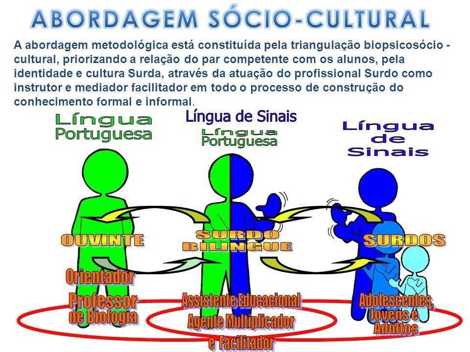 A abordagem metodológica está constituída pela triangulação biopsicosócio - cultural, priorizando a relação do par competente com os alunos, pela iden