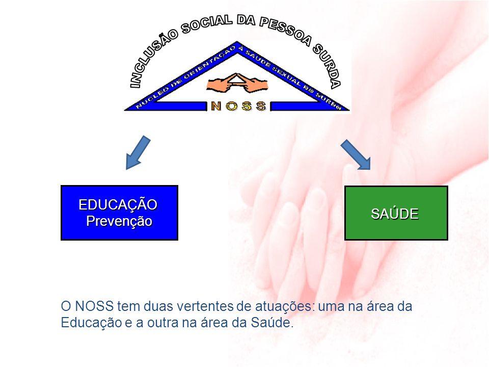 SAÚDE EDUCAÇÃOPrevenção O NOSS tem duas vertentes de atuações: uma na área da Educação e a outra na área da Saúde.