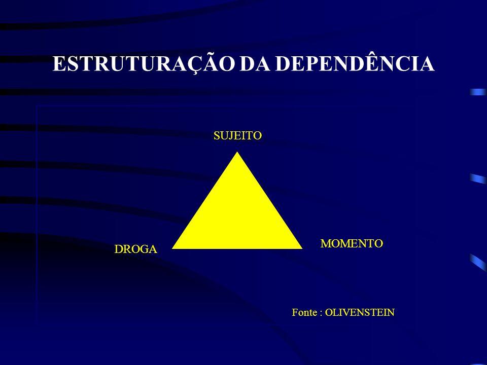 ESTRUTURAÇÃO DA DEPENDÊNCIA SUJEITO DROGA MOMENTO Fonte : OLIVENSTEIN