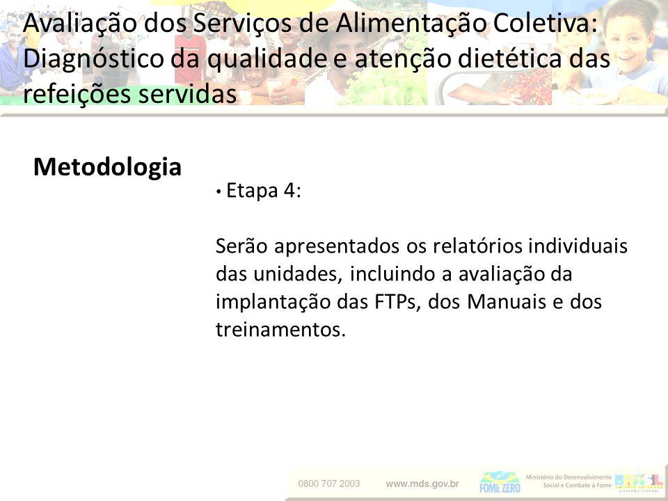 Avaliação dos Serviços de Alimentação Coletiva: Diagnóstico da qualidade e atenção dietética das refeições servidas Metodologia Etapa 4: Serão apresen