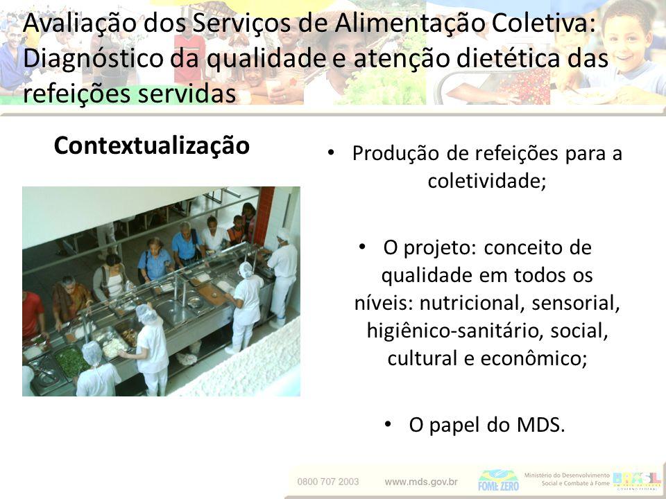Avaliação dos Serviços de Alimentação Coletiva: Diagnóstico da qualidade e atenção dietética das refeições servidas Objetivos Geral: Analisar a qualidade do serviço e da atenção dietética prestados.