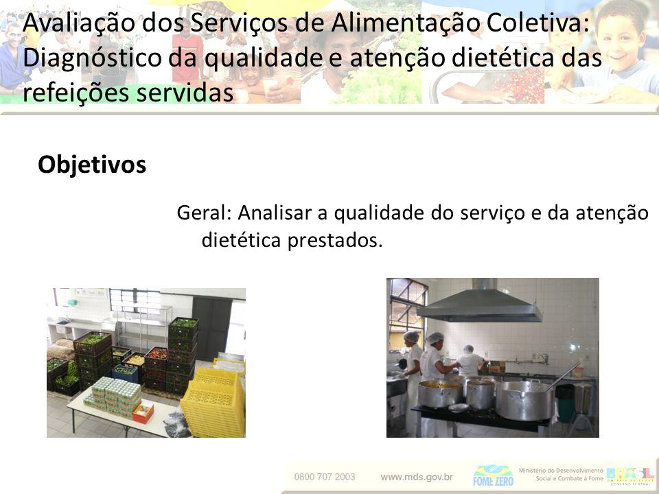 Avaliação dos Serviços de Alimentação Coletiva: Diagnóstico da qualidade e atenção dietética das refeições servidas Objetivos Geral: Analisar a qualid