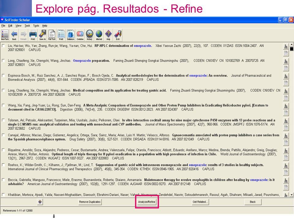 Explore pág. Resultados - Refine
