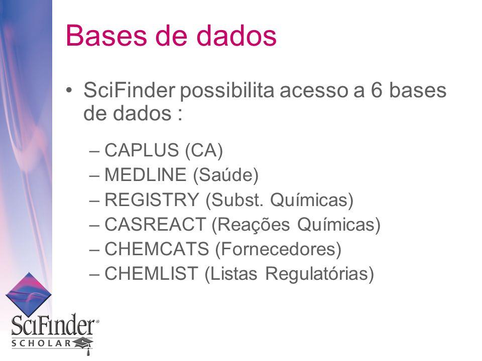 Bases de dados SciFinder possibilita acesso a 6 bases de dados : –CAPLUS (CA) –MEDLINE (Saúde) –REGISTRY (Subst. Químicas) –CASREACT (Reações Químicas