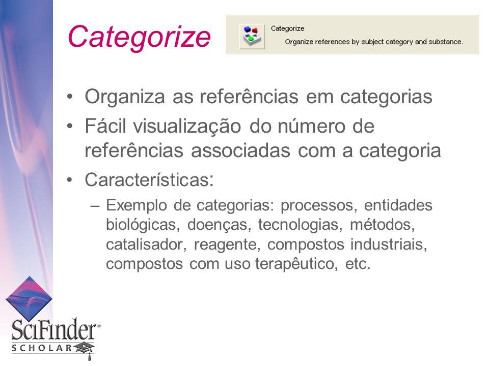 Categorize Organiza as referências em categorias Fácil visualização do número de referências associadas com a categoria Características : –Exemplo de