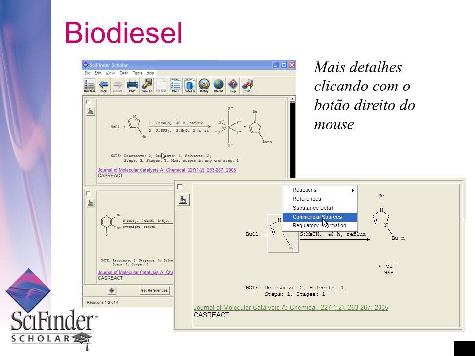 Biodiesel Mais detalhes clicando com o botão direito do mouse