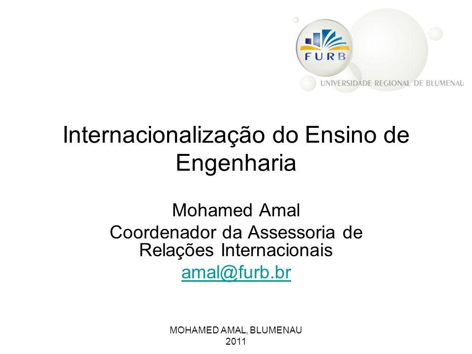 Internacionalização do Ensino de Engenharia Mohamed Amal Coordenador da Assessoria de Relações Internacionais amal@furb.br