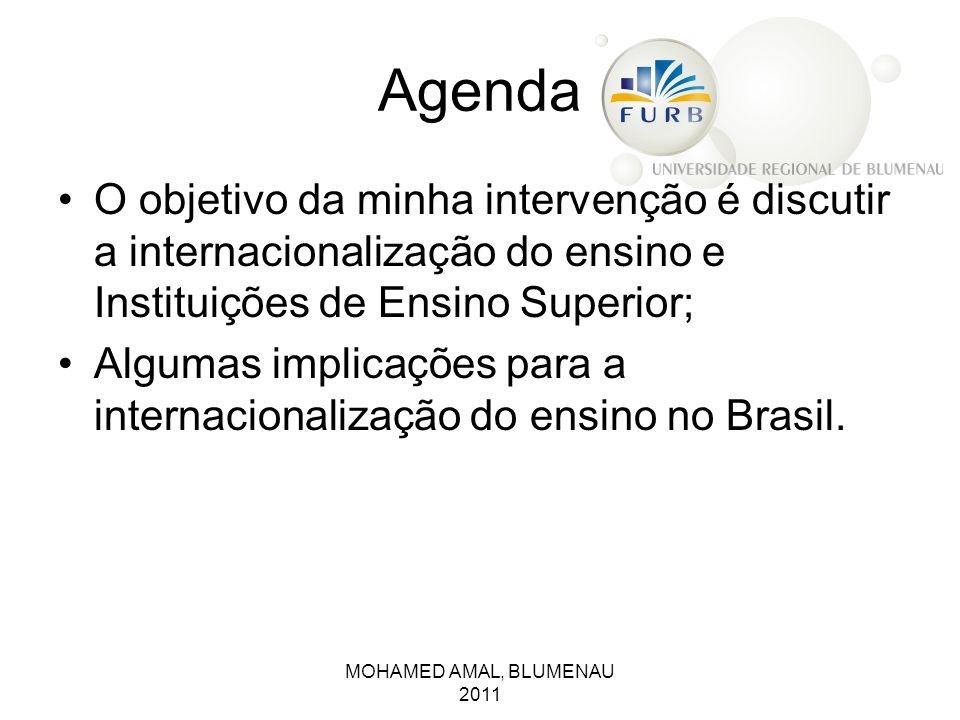 Agenda O objetivo da minha intervenção é discutir a internacionalização do ensino e Instituições de Ensino Superior; Algumas implicações para a intern