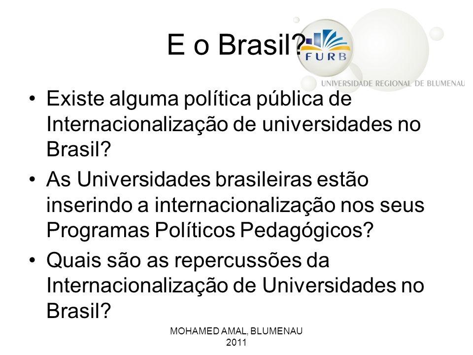 E o Brasil? Existe alguma política pública de Internacionalização de universidades no Brasil? As Universidades brasileiras estão inserindo a internaci