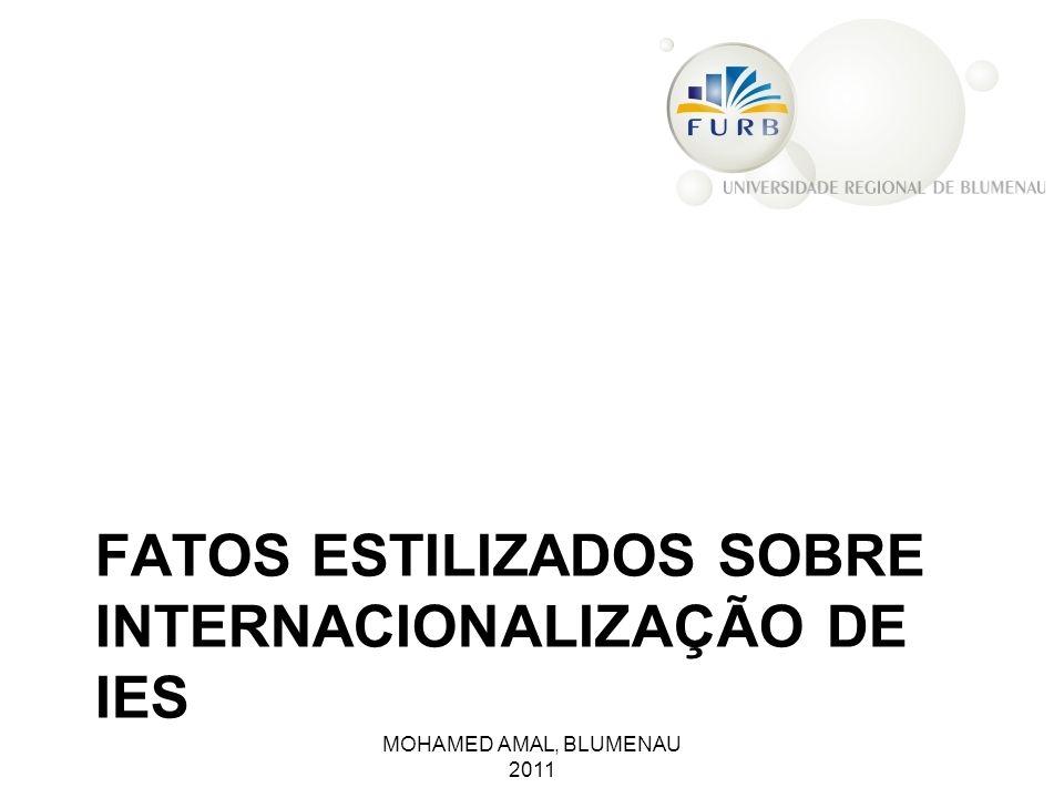 FATOS ESTILIZADOS SOBRE INTERNACIONALIZAÇÃO DE IES MOHAMED AMAL, BLUMENAU 2011