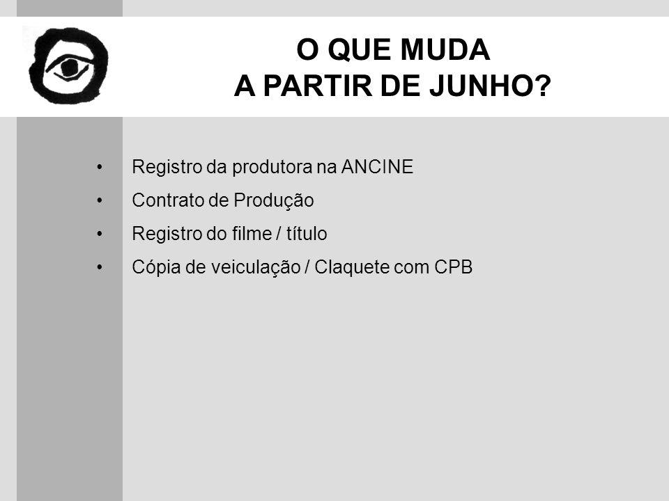 NOVOS PROCEDIMENTOS Registro da Produtora na ANCINE www.ancine.gov.br Documentos Atividade cinematográfica